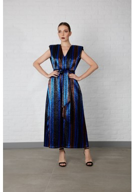 Blue Metallic Jacquard Jumpsuit