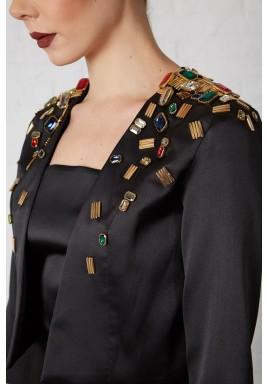 Black Stones Embellished Tafetta Blazer