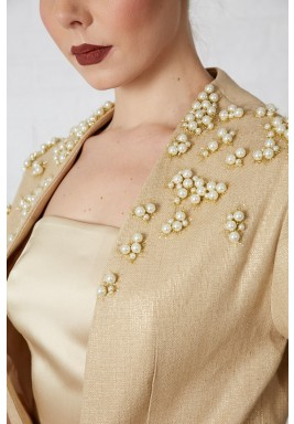 Golden Pearl Embellished Tweed Blazer