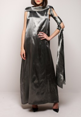 Dramatic highneck dress