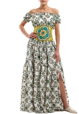 White & Green Embroidered Corset Dress