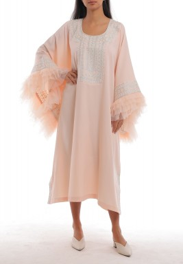 Pink Oversized Ruffled Sleeves Kaftan