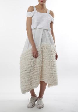 White fur with straps