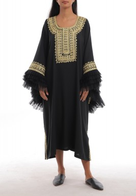 Black Oversized Ruffled Sleeves Kaftan