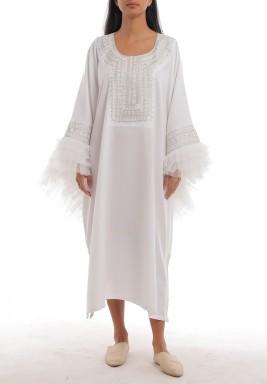 White Oversized Ruffled Sleeves Kaftan
