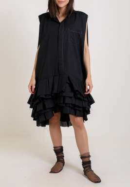 Black Ruffled Deshdasha