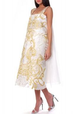 White Puffed Embroidered Dress