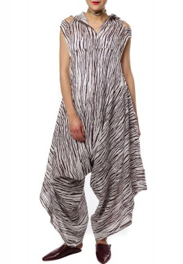 White & Maroon Striped Jumpsuit