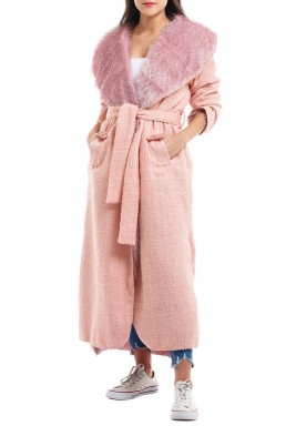 Pink Double Face Belted Coat