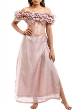 Pink Off-Shoulders Corset Dress