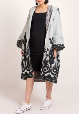 Grey Embroidered Farwa