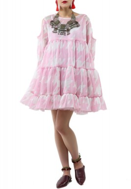 Pink Ruffled Short Dress
