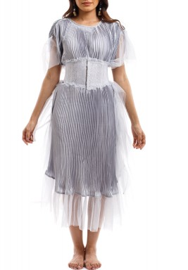 Silver Pleated Satin Corset Dress