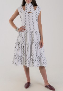 White Layered Printed Pajama Dress