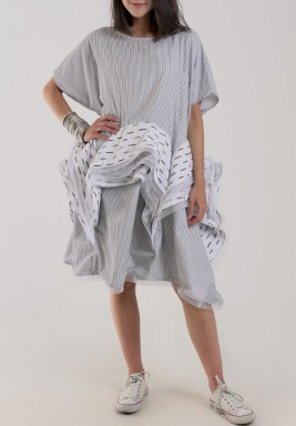 Grey Striped Ruffled Waist deshdasha