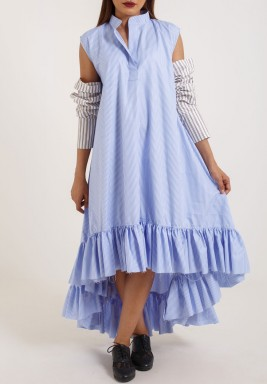 Blue Striped Ruffled Deshdasha