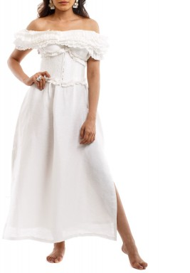 White Off-Shoulders Corset Dress