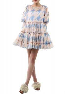 Beige print babydoll Dress