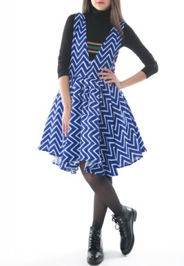 Blue Zigzag Puffed Dress
