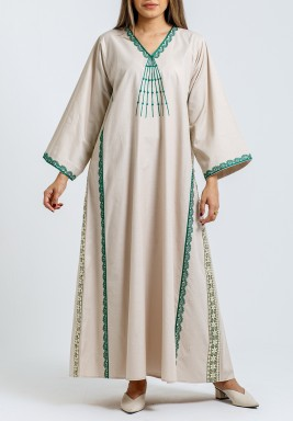 Beige with green embroidery Kaftan
