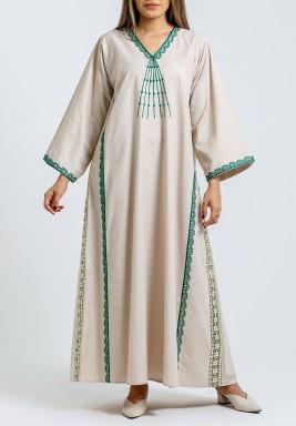 Beige & Green Embroidery Kaftan