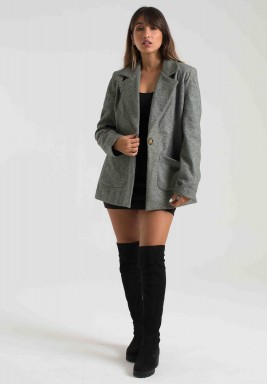 GREY WOOL LONGLINE BLAZER