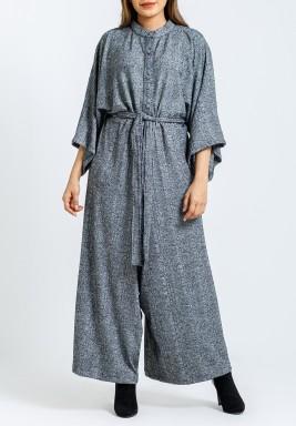 Grey Belted Sherwal Jumpsuit