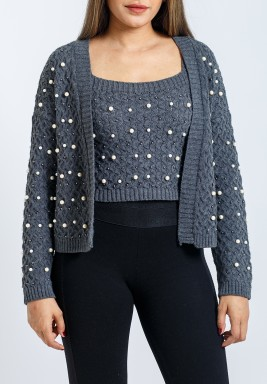 Grey Embellished Cardigan Set
