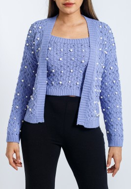 Lavender Embellished Cardigan Set