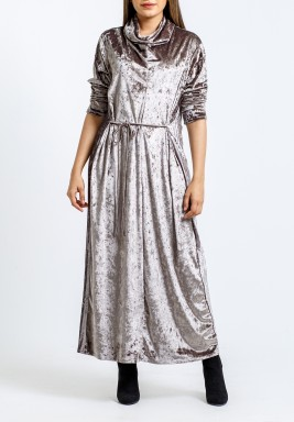 Grey crushed velvet dress with rope belt