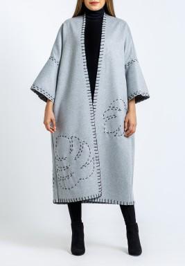 Light Grey Embroidered Open Midi Bisht