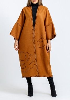 Camel Embroidered Open Midi Bisht