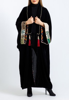 Black Embroidered Oversized Sleeves Bisht