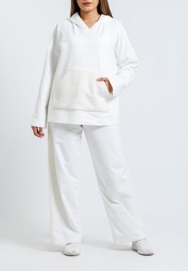 White Hooded Top & Pants Set