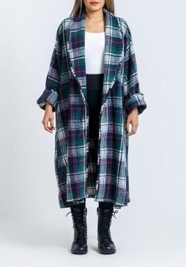 Green Checked Maxi Kimono