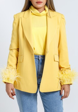 Yellow Feather Top & Blazer Set