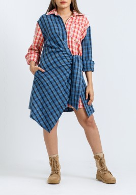 Blue & Red Checked Wrap Shirt Dress