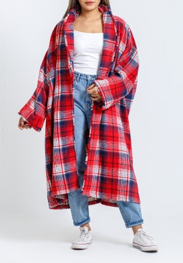 Red Checked Maxi Kimono