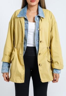 Mustard Denim Buttoned Jacket