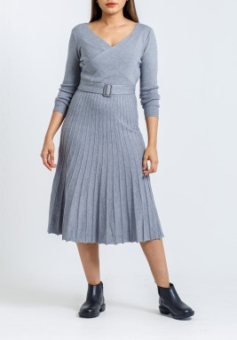 Grey Pleated Belted Midi Dress