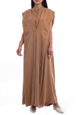 Beige Sleeveless Cape-Like Dress
