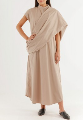 Sleeveless Shawl Dress Taupe