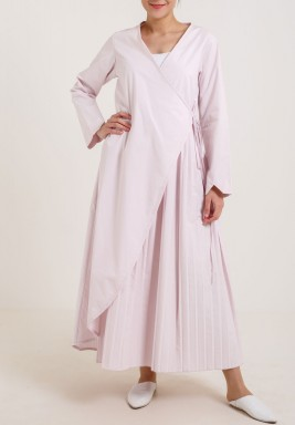 Pleated Wrap Dress Pink
