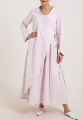 Pleated Wrap Dress Pink