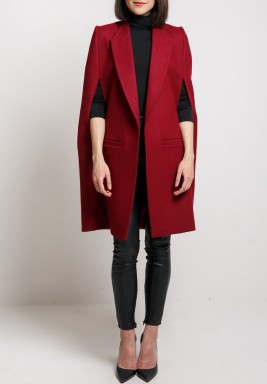 Maroon Plain Short Cape