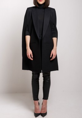 Black Wool Midi Cape