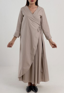 Pleated Wrap Dress Taupe