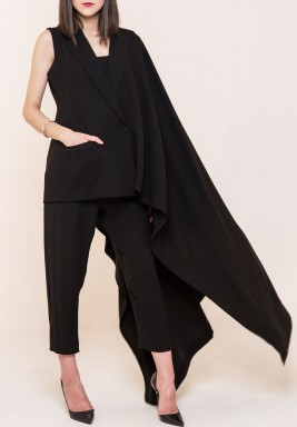 Black Side Shawl Sleeveless Blazer