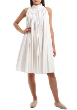Off White Short Pleated Dress
