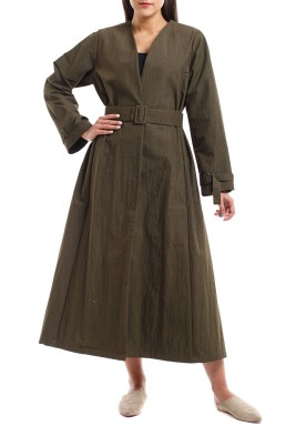 Khaki Belted Bisht with Sleeves